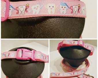 Pink Dental Dog Collar - Dog Collar - Tooth Dog Collar - Gift for a Dentist - Dog Lover Gift