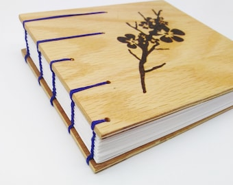 Wood Journal/Sketchbook with Wood Burnt Cherry Blossoms