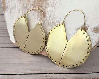 Brass Earrings, Tribal Earrings, Gold Statement Earrings, Large Gold Earrings, Big Hoop Earrings, Ethnic Earrings, Boho Earrings
