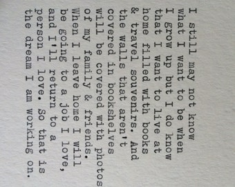 Love and Travel Typewriter Quote / Handtyped On Typewriter