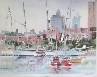 Philly Waterfront / Signed TALL SHIPS Watercolor Print // Fine Art Signed Collectible // Historic Philadelphia Penns Landing
