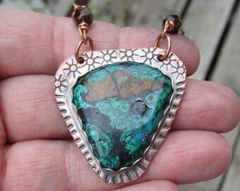 Chrysocolla and Copper Pendant