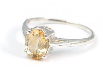 Citrine 92.5 sterling silver ring size 7 us