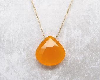 Orange Chalcedony Gemstone Necklace - Gemstone Necklace - Chalcedony Necklace