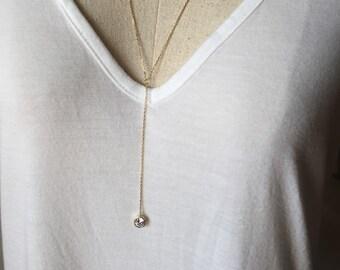 CZ Y Necklace, Gold Y Necklace, Dainty Necklace