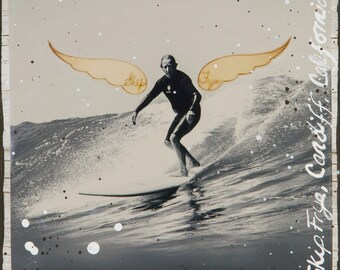 GLASSED, FLY~SKIP Frye, 4x4 and Up, Hand Painted, re-collaged, wood panel, Legendary Shaper, Cardiff, Calif, Surf Art
