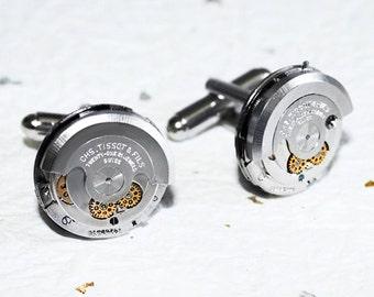 TISSOT Men Steampunk Cufflinks - RARE Luxury Swiss 21 Jewels Silver AUTOMATIC  Vintage Watch Movement - Men Steampunk Cufflinks Cuff Links