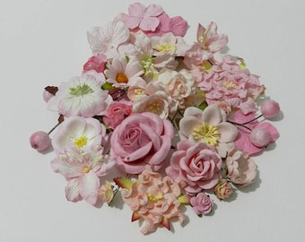 50 Mixed Size of Pink Handmade Mulberry Paper Flowers