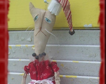 Primitive Christmas Lilly Cat