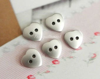 5 Small Mini Retro Silver Heart Shaped Jacket Coat Sweater Simple Plain Plastic Buttons