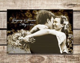 Photo on Wood Print 16x24  Wedding Pic on Re-purposed Wood Siding for Indoor/Outdoor Wood Plank Wall Art