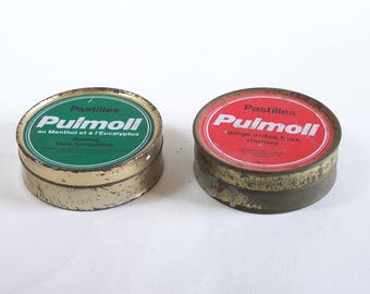 """Tin box """"Pulmoll"""" red and green tin box vintage Made in France"""