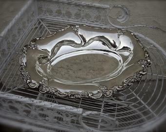 Vintage large silver plate bowl, silver fruit bowl, silver ornament bowl