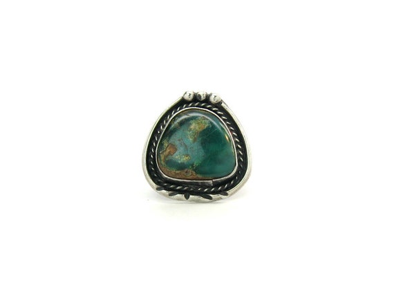 Vintage Huge Navajo Sterling Silver Green Turquoise Ring