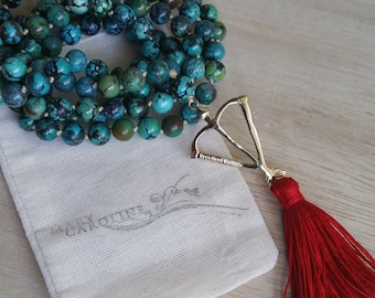 Natural Tibetan Chinese Turquoise Mala Prayer Bead Necklace  / Eco-Friendly Jewelry