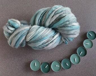 Thick and thin slub merino wool knitting yarn TTY2 handspun handpainted chunky art blanket scarf yarn 5.18 oz 163 yards