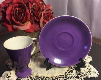 Vintage ucagco ceramics japan footed teacup with matching saucer in purple