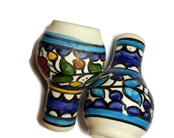 Salt & Pepper Handmade Paitned Ceramic Shakers Enameled Floral from Jerusalem