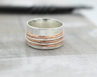 Silver Copper Spinner Ring - Fidget Ring - Copper Sterling Meditation Ring SR103