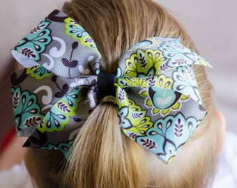 Hair Bow - Gray & Teal Print Pinwheel Hairbow