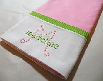 Personalized Pillowcase, Monogrammed Pillowcase, Personalized Bedding, Pink Pillowcase
