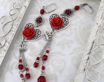 Paint the Roses Red, Queen of Hearts Earrings - Alice in Wonerland Cosplay Jewelry - chain earring - Long heart earrings, earrings for women