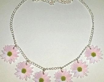 Pale Pastel Flower Daisy Chain Summer Festival Hippie Necklace