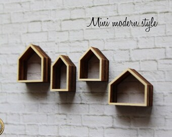 Set 4 shelves in the shape of houses in wood in scale 1:12 for doll house