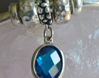 Sterling Silver Swiss Blue Zirconia European Charm Dangle Charm - Fits all European Charm Bracelets