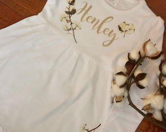 Long Sleeve Ruffle Southern Raw Cotton Boll Dress