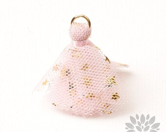 T024-PK// Gold Jumpring Star Pointed Pink Mesh Fabric Tassel Pendant, 4pcs
