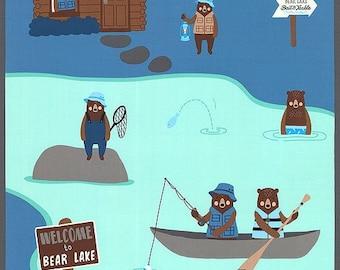 "Brawny Bears Fishing Trip blue panel 24"" x 44"""