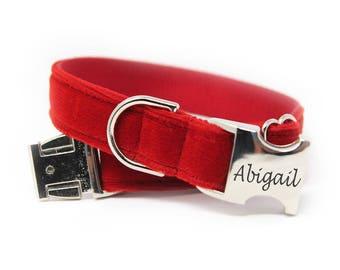 Personalized Red Velvet Collar, Engraved Velvet Dog Collar, Red Velvet Dog Collar