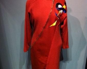 Vintage Wool Rust Dress