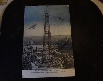 Air ship tower coney island postcard postmarked 1905