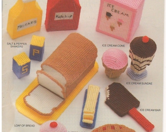 1988 - Vintage Plastic Canvas Playtime Meals And Munchies 87T62 Annie's Attic Play Pretend Toy Food Cupcake Bread Butter Ketchup Mustard