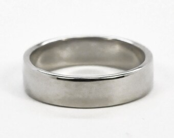 Mens 14K White Gold 5mm Hand Forged Wedding Ring or Band, Sea Babe Jewelry