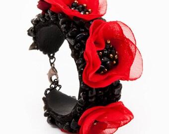 POPPY BRACELET - statement poppy bracelet, red flower bracelet, floral bracelet, onyx bracelet