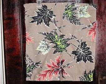 Vintage Barkcloth Sample Panel Gray Leaves Pillow
