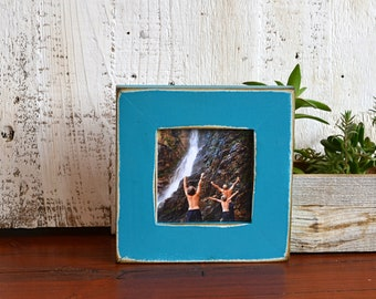 """4x4 Square Picture Frame in 1.5 inch Standard Style with Super Vintage Turquoise Finish - IN STOCK - Same Day Shipping Frame Green 4 x 4"""""""