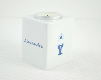 First Communion Square candle contemporary MM