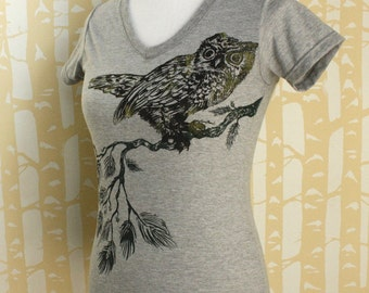 Screech Owl Tee in 100% recycled poly/cotton, choose your size and color, made in USA