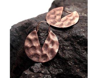 IN hammered copper hoop earrings