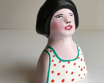 Original clay sculpture // RUBY 57 // girl in white red polka dot dress // clay figurine // totem // art doll