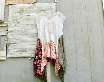 Upcycled Clothing, Lace Shirt, Festival Clothing, Up Cycled, Recycled, Reclaimed, Summer Dress, T-Shirt, Womens Fashion, Heart, CreoleSha