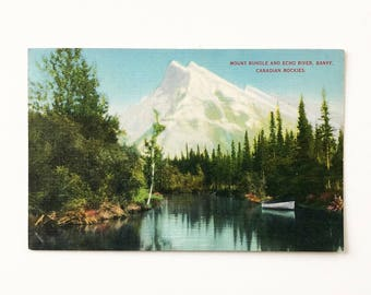 Mount Rundle and Echo River Banff Canadian Rockies Vintage Lithograph Postcard Antique Tinted Litho Print
