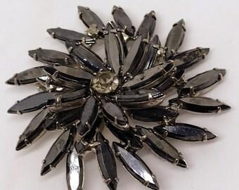 Vintage 1960's Pinwheel Style Rhinestone Brooch with Hematite Navetts