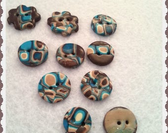 """Handmade Buttons """"Square Brown"""""""