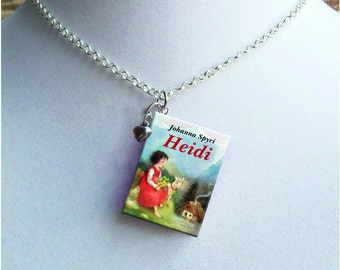 Heidi with Tiny Heart Charm - Miniature Book Necklace - Vintage Children's Book