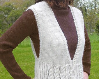 Aran Vest to Knit PDF Pattern Instant Download